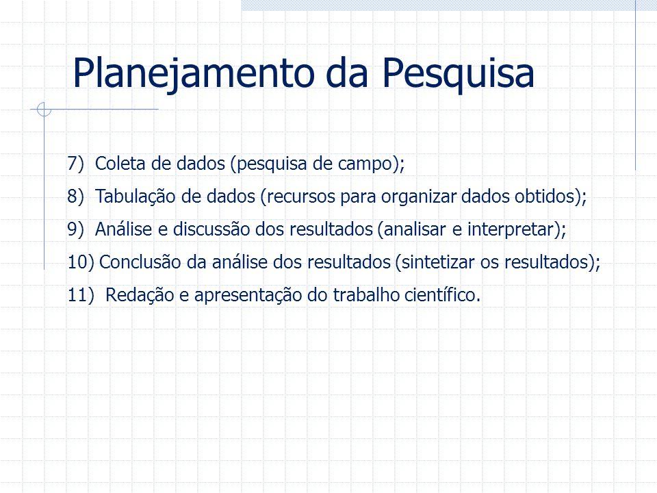 7) Coleta de dados (pesquisa de campo); 8) Tabulação de dados (recursos para organizar dados obtidos); 9) Análise e discussão dos resultados (analisar