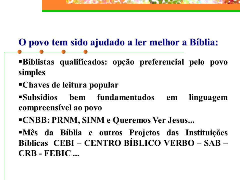 O povo tem sido ajudado a ler melhor a Bíblia: Biblistas qualificados: opção preferencial pelo povo simples Chaves de leitura popular Subsídios bem fu