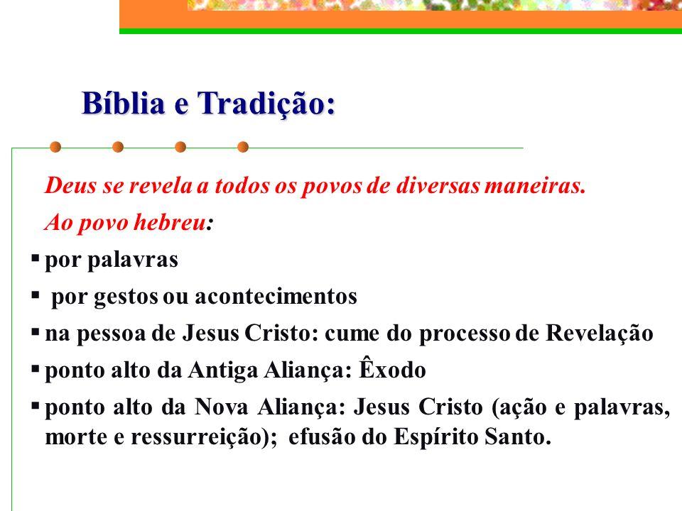 Bíblia e Tradição: Deus se revela a todos os povos de diversas maneiras. Ao povo hebreu: por palavras por gestos ou acontecimentos na pessoa de Jesus