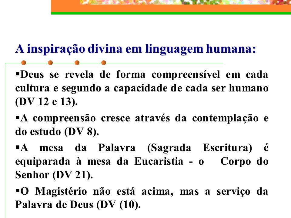 A inspiração divina em linguagem humana: Deus se revela de forma compreensível em cada cultura e segundo a capacidade de cada ser humano (DV 12 e 13).