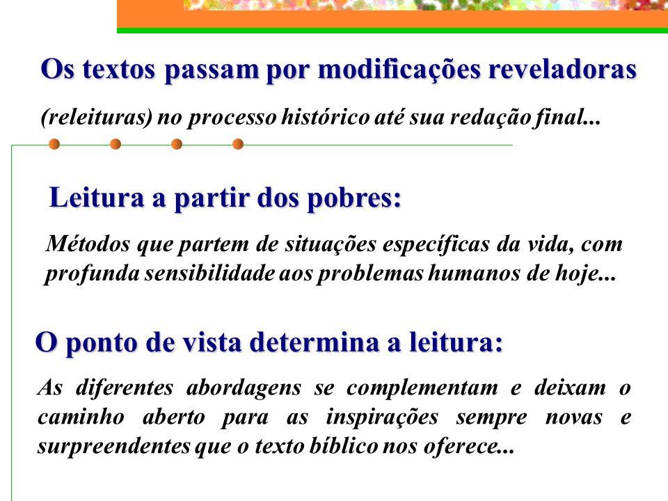 Os textos passam por modificações reveladoras (releituras) no processo histórico até sua redação final... Leitura a partir dos pobres: Métodos que par