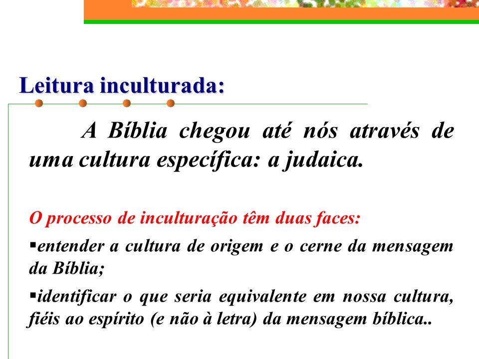 Leitura inculturada: A Bíblia chegou até nós através de uma cultura específica: a judaica. O processo de inculturação têm duas faces: entender a cultu