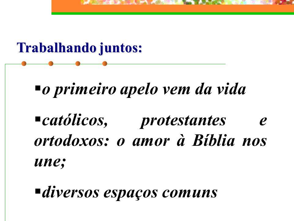 Trabalhando juntos: o primeiro apelo vem da vida católicos, protestantes e ortodoxos: o amor à Bíblia nos une; diversos espaços comuns