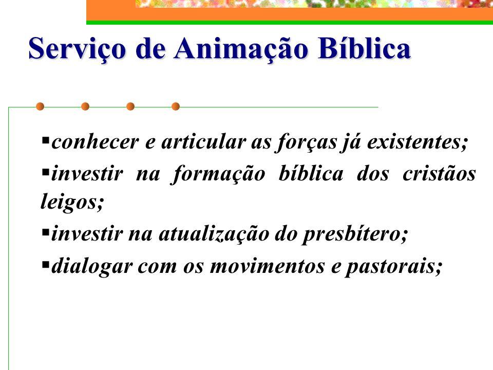 Serviço de Animação Bíblica conhecer e articular as forças já existentes; investir na formação bíblica dos cristãos leigos; investir na atualização do