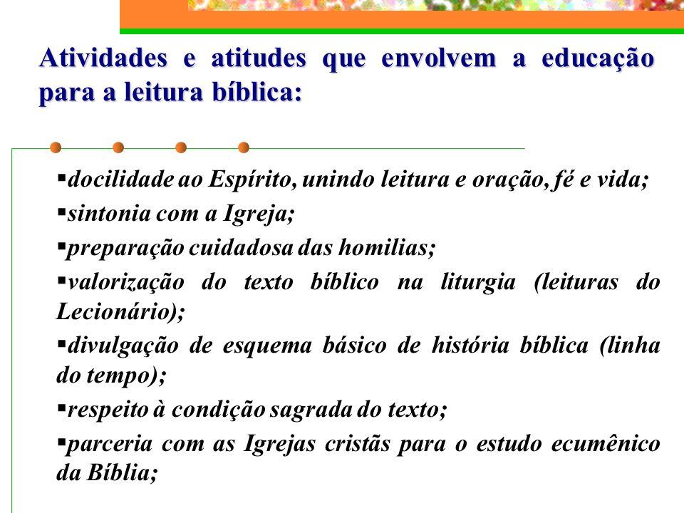 Atividades e atitudes que envolvem a educação para a leitura bíblica: docilidade ao Espírito, unindo leitura e oração, fé e vida; sintonia com a Igrej