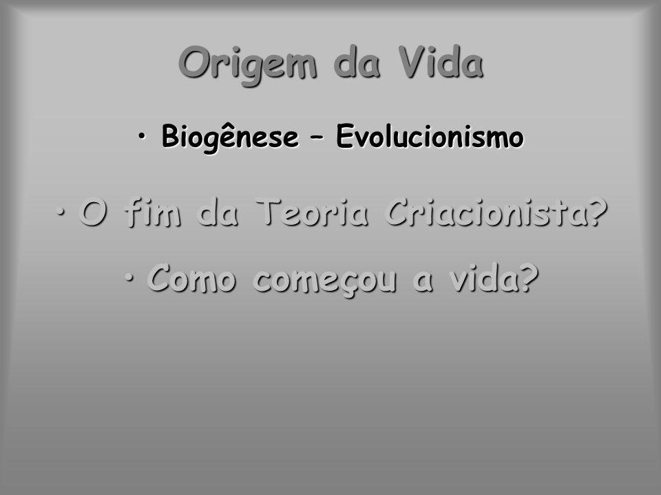 Origem da Vida Biogênese – EvolucionismoBiogênese – Evolucionismo O fim da Teoria Criacionista?O fim da Teoria Criacionista? Como começou a vida?Como