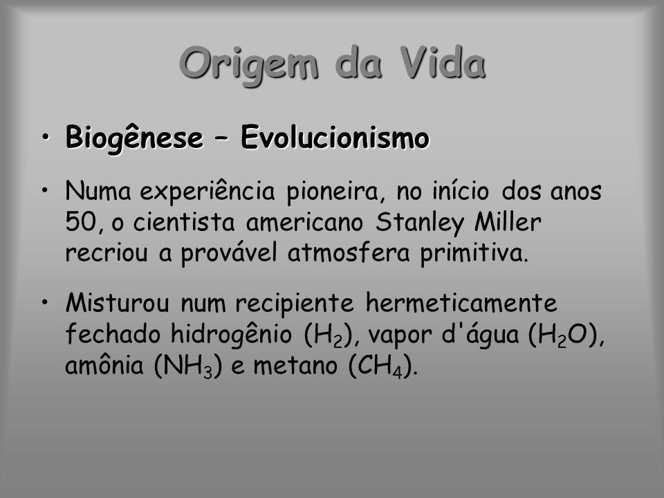 Origem da Vida Biogênese – EvolucionismoBiogênese – Evolucionismo Numa experiência pioneira, no início dos anos 50, o cientista americano Stanley Mill