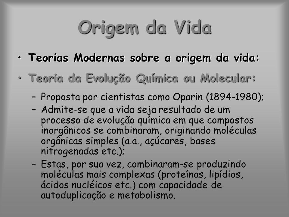 Origem da Vida Teorias Modernas sobre a origem da vida:Teorias Modernas sobre a origem da vida: Teoria da Evolução Química ou Molecular:Teoria da Evol