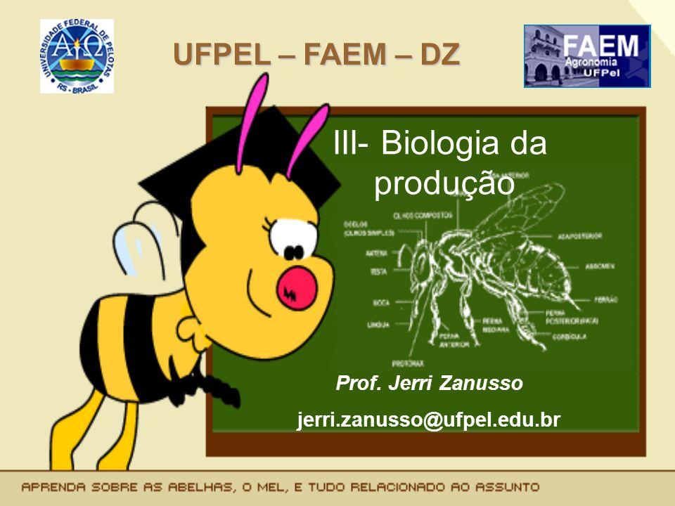 III- Biologia da produção UFPEL – FAEM – DZ Prof. Jerri Zanusso jerri.zanusso@ufpel.edu.br