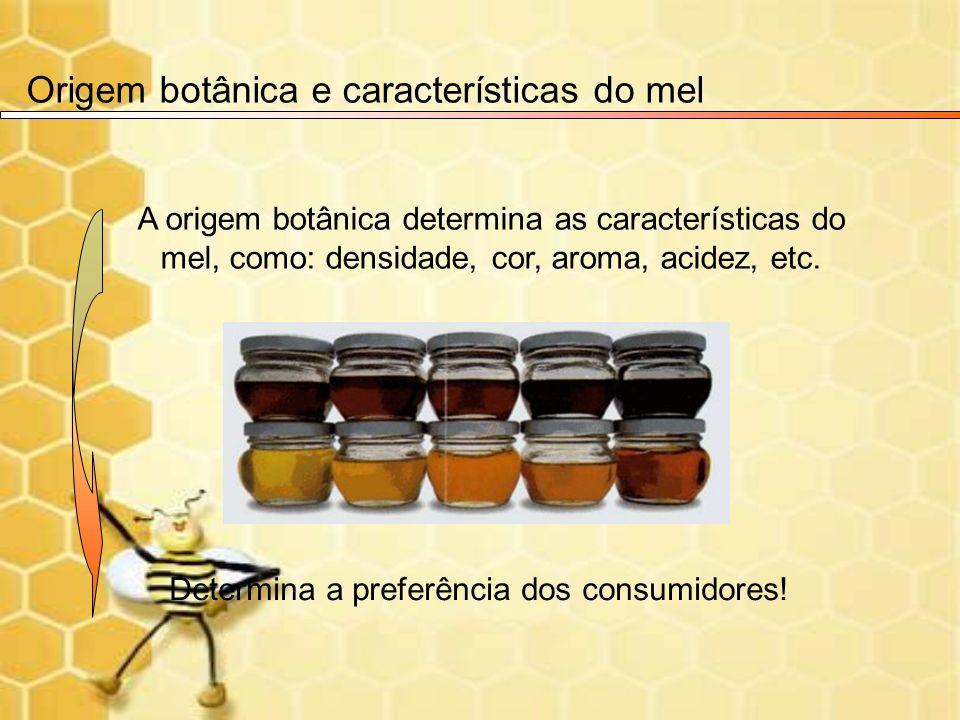 A origem botânica determina as características do mel, como: densidade, cor, aroma, acidez, etc. Determina a preferência dos consumidores! Origem botâ