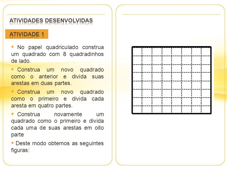 No papel quadriculado construa um quadrado com 8 quadradinhos de lado.