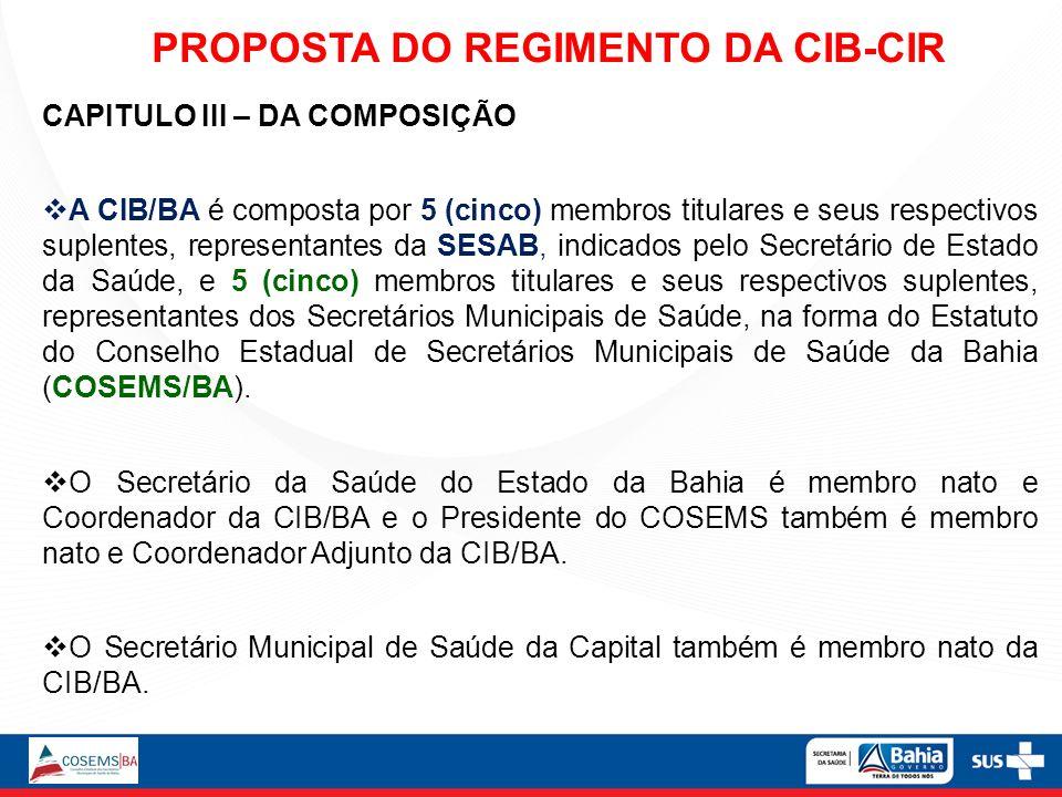 CAPITULO III – DA COMPOSIÇÃO A CIB/BA é composta por 5 (cinco) membros titulares e seus respectivos suplentes, representantes da SESAB, indicados pelo