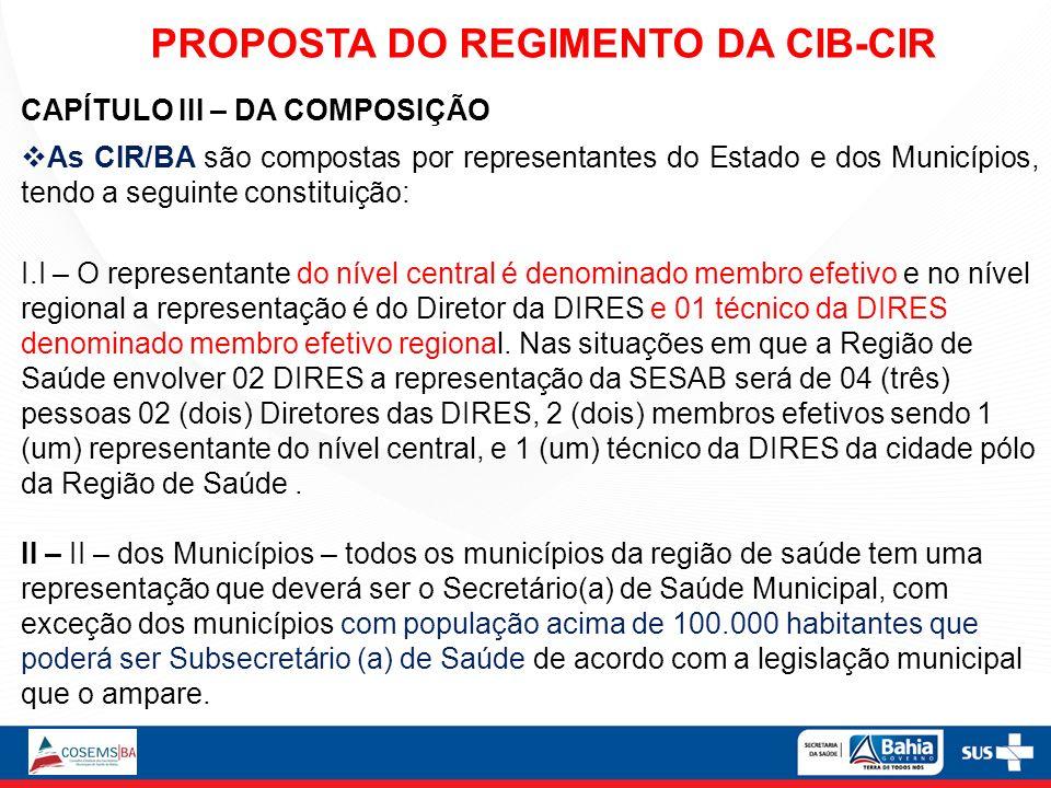 CAPÍTULO III – DA COMPOSIÇÃO As CIR/BA são compostas por representantes do Estado e dos Municípios, tendo a seguinte constituição: I.I – O representan