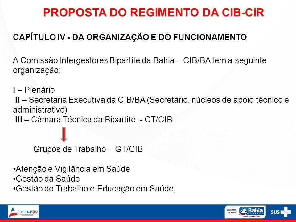 CAPÍTULO IV - DA ORGANIZAÇÃO E DO FUNCIONAMENTO A Comissão Intergestores Bipartite da Bahia – CIB/BA tem a seguinte organização: I – Plenário II – Sec