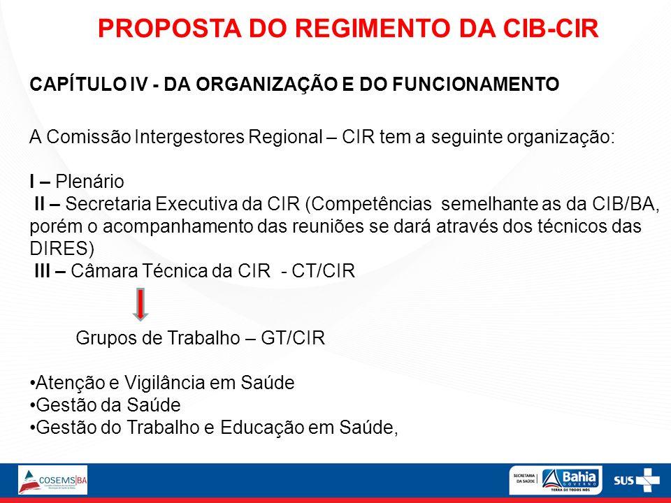 CAPÍTULO IV - DA ORGANIZAÇÃO E DO FUNCIONAMENTO A Comissão Intergestores Regional – CIR tem a seguinte organização: I – Plenário II – Secretaria Execu