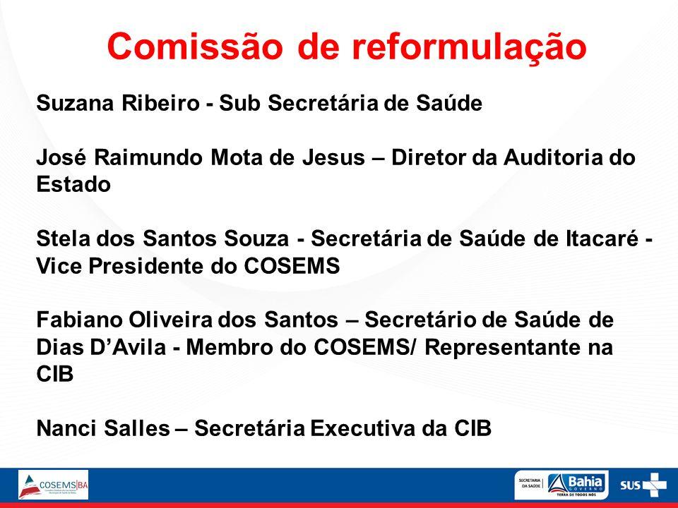 Comissão de reformulação Suzana Ribeiro - Sub Secretária de Saúde José Raimundo Mota de Jesus – Diretor da Auditoria do Estado Stela dos Santos Souza