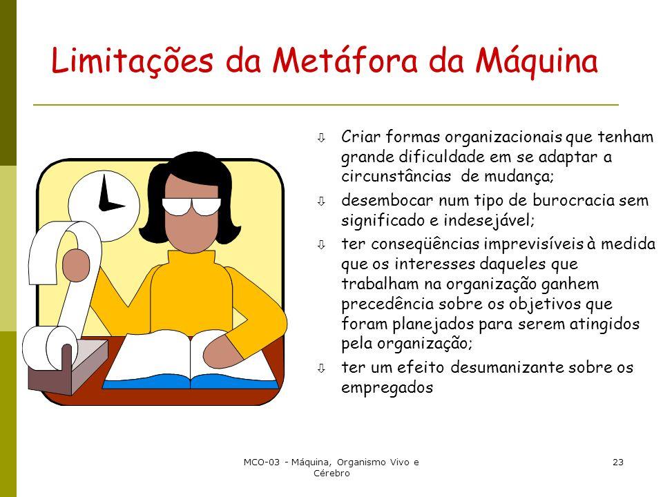 MCO-03 - Máquina, Organismo Vivo e Cérebro 23 Limitações da Metáfora da Máquina ò Criar formas organizacionais que tenham grande dificuldade em se ada