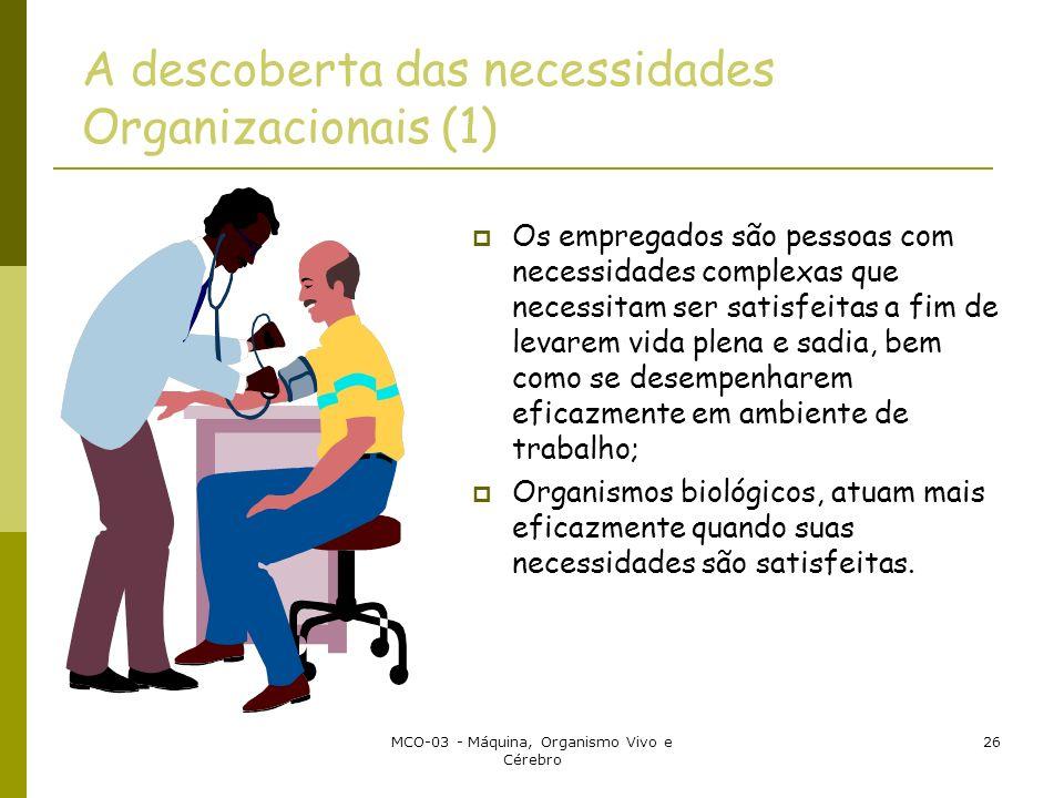 MCO-03 - Máquina, Organismo Vivo e Cérebro 26 A descoberta das necessidades Organizacionais (1) Os empregados são pessoas com necessidades complexas q
