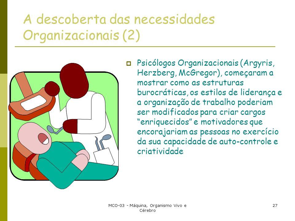 MCO-03 - Máquina, Organismo Vivo e Cérebro 27 A descoberta das necessidades Organizacionais (2) Psicólogos Organizacionais (Argyris, Herzberg, McGrego
