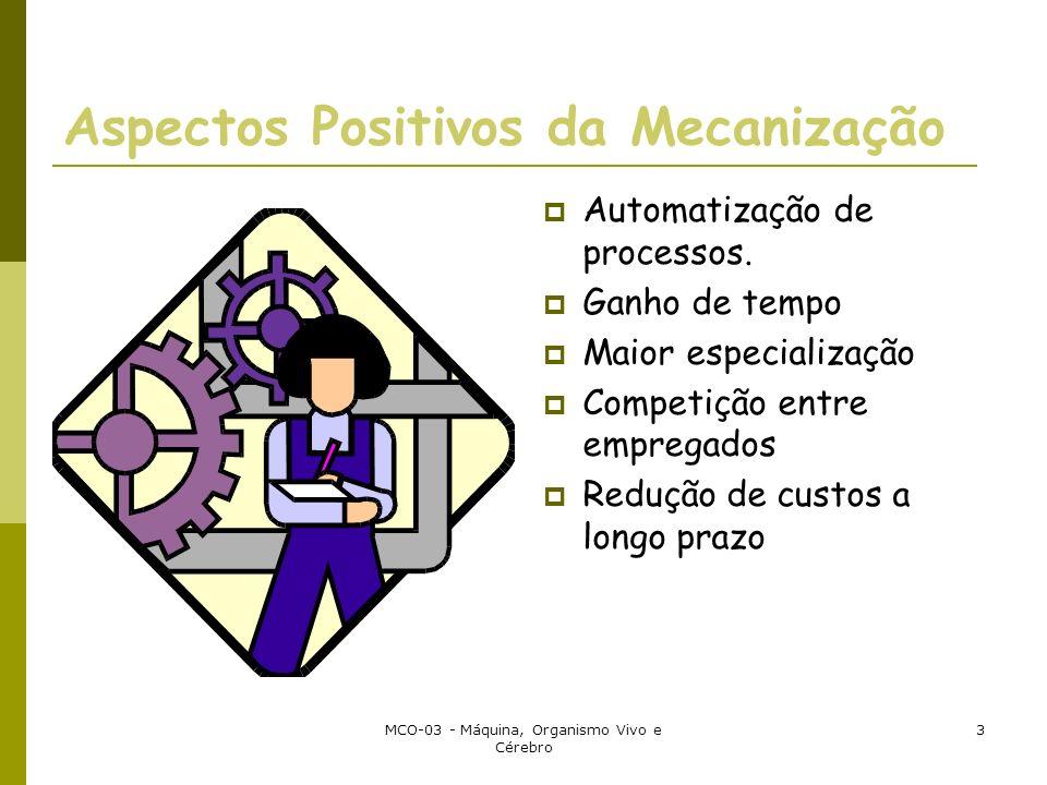 MCO-03 - Máquina, Organismo Vivo e Cérebro 3 Aspectos Positivos da Mecanização Automatização de processos. Ganho de tempo Maior especialização Competi