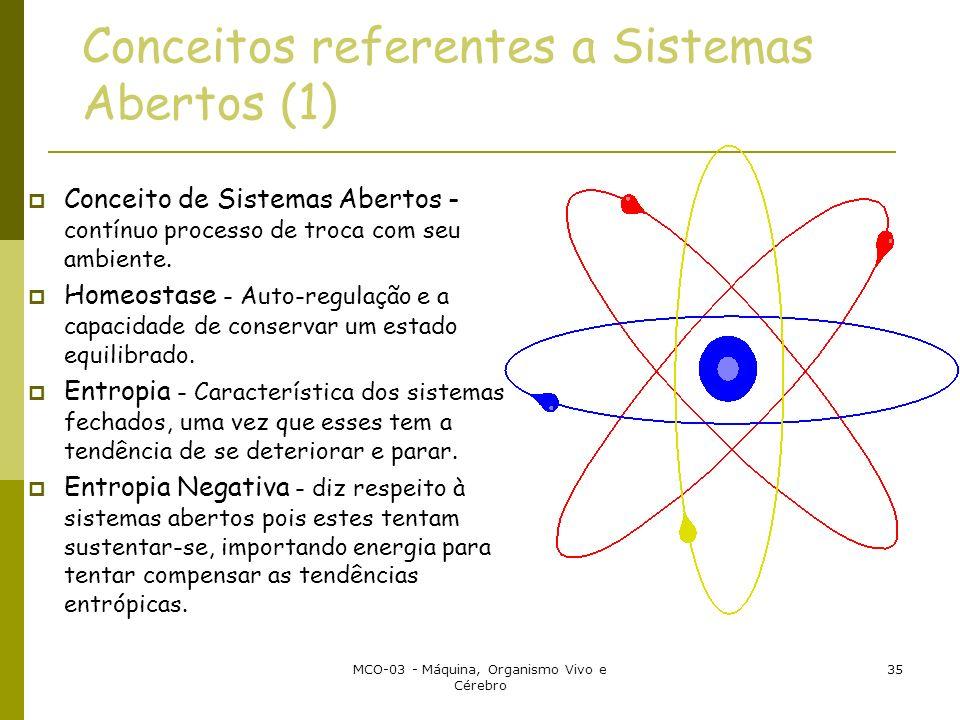 MCO-03 - Máquina, Organismo Vivo e Cérebro 35 Conceitos referentes a Sistemas Abertos (1) Conceito de Sistemas Abertos - contínuo processo de troca com seu ambiente.