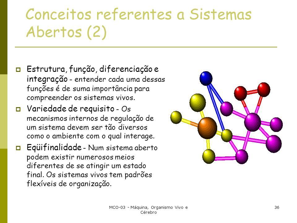 MCO-03 - Máquina, Organismo Vivo e Cérebro 36 Conceitos referentes a Sistemas Abertos (2) Estrutura, função, diferenciação e integração - entender cada uma dessas funções é de suma importância para compreender os sistemas vivos.