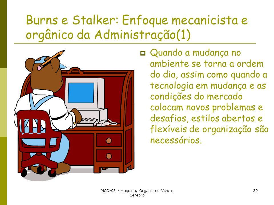 MCO-03 - Máquina, Organismo Vivo e Cérebro 39 Burns e Stalker: Enfoque mecanicista e orgânico da Administração(1) Quando a mudança no ambiente se torn