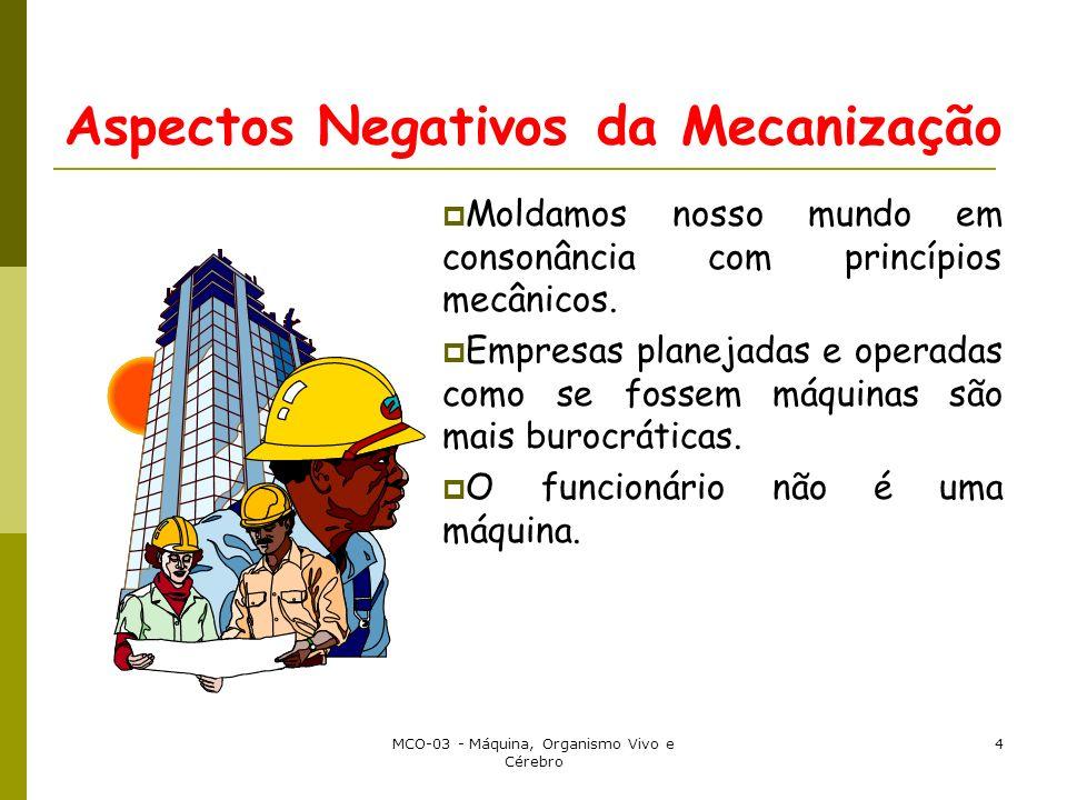 MCO-03 - Máquina, Organismo Vivo e Cérebro 4 Aspectos Negativos da Mecanização Moldamos nosso mundo em consonância com princípios mecânicos. Empresas