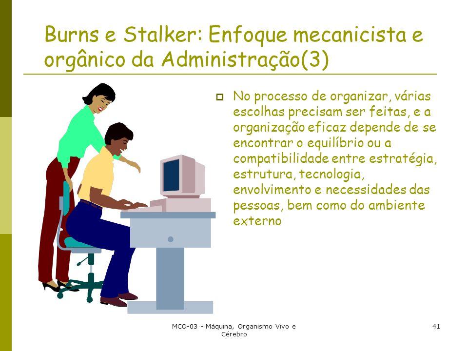 MCO-03 - Máquina, Organismo Vivo e Cérebro 41 Burns e Stalker: Enfoque mecanicista e orgânico da Administração(3) No processo de organizar, várias esc