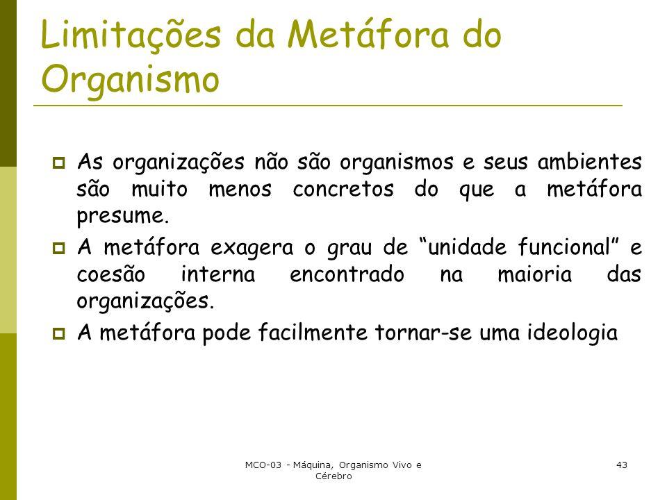 MCO-03 - Máquina, Organismo Vivo e Cérebro 43 Limitações da Metáfora do Organismo As organizações não são organismos e seus ambientes são muito menos concretos do que a metáfora presume.