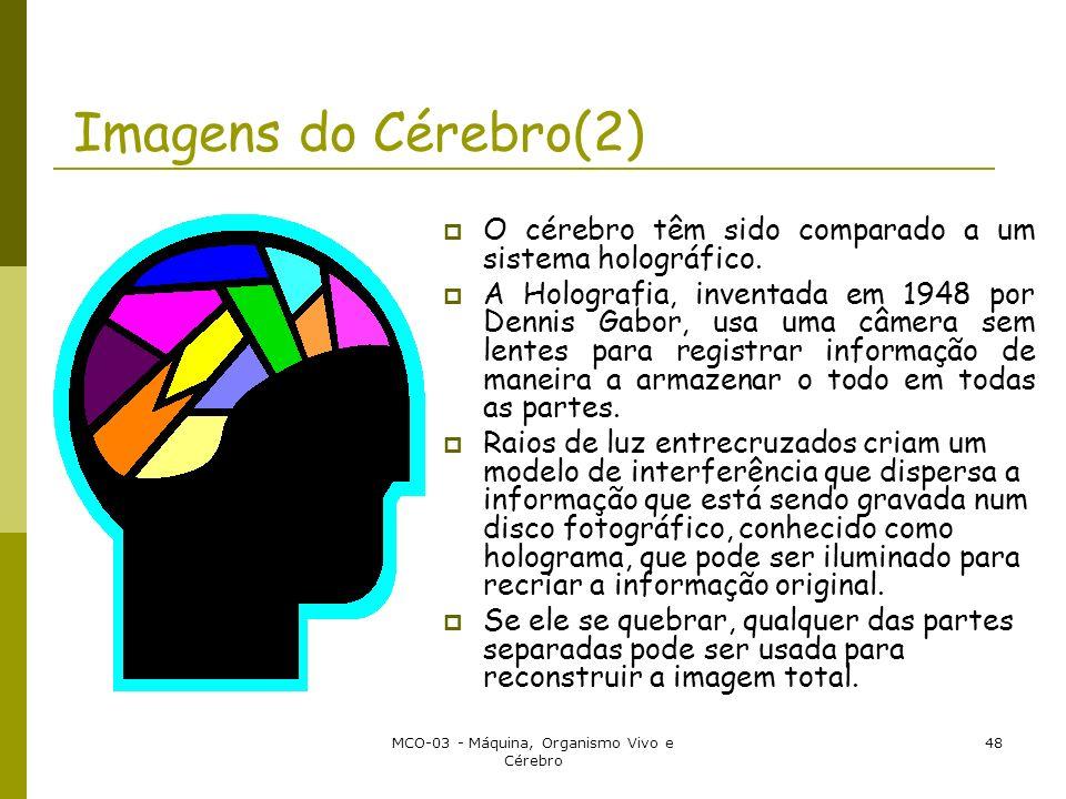 MCO-03 - Máquina, Organismo Vivo e Cérebro 48 Imagens do Cérebro(2) O cérebro têm sido comparado a um sistema holográfico. A Holografia, inventada em