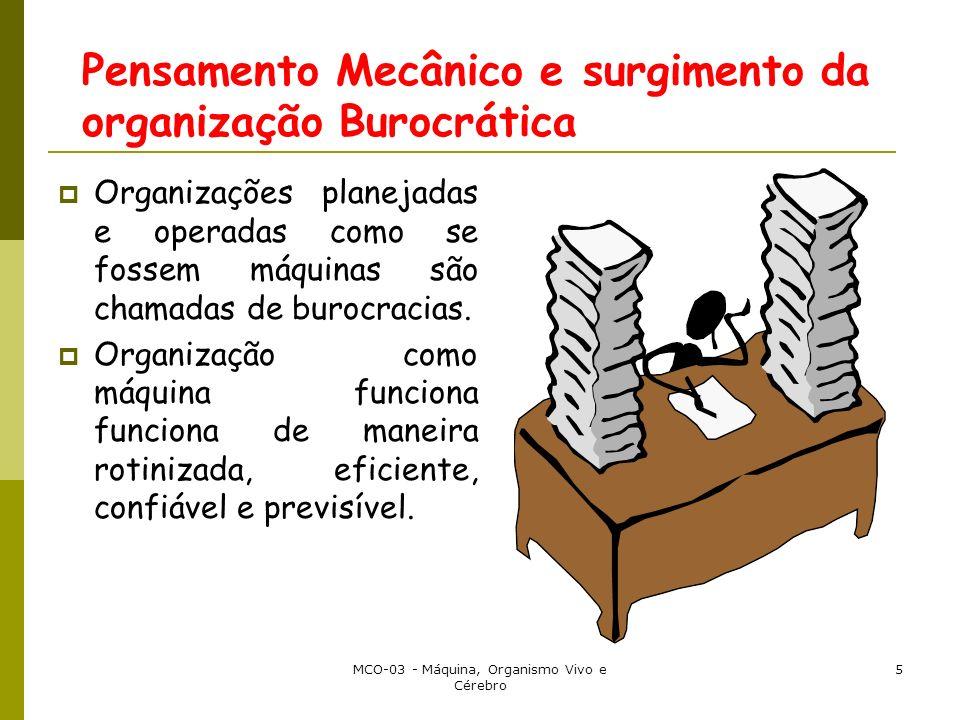 MCO-03 - Máquina, Organismo Vivo e Cérebro 5 Pensamento Mecânico e surgimento da organização Burocrática Organizações planejadas e operadas como se fossem máquinas são chamadas de burocracias.