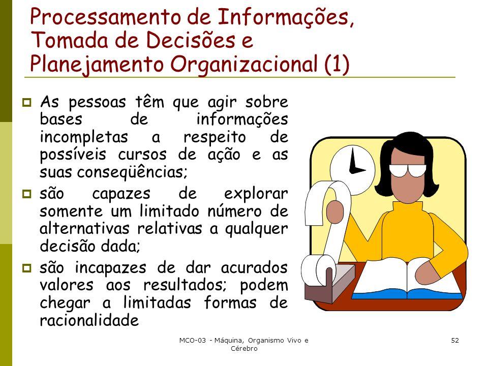 MCO-03 - Máquina, Organismo Vivo e Cérebro 52 Processamento de Informações, Tomada de Decisões e Planejamento Organizacional (1) As pessoas têm que ag
