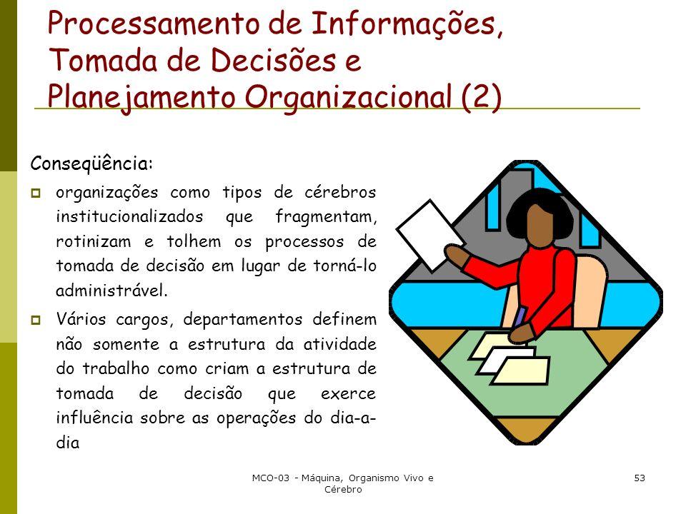 MCO-03 - Máquina, Organismo Vivo e Cérebro 53 Processamento de Informações, Tomada de Decisões e Planejamento Organizacional (2) Conseqüência: organiz