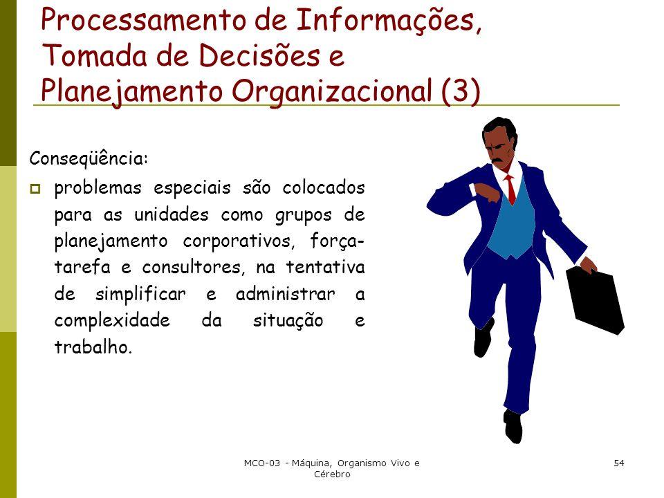 MCO-03 - Máquina, Organismo Vivo e Cérebro 54 Processamento de Informações, Tomada de Decisões e Planejamento Organizacional (3) Conseqüência: problem