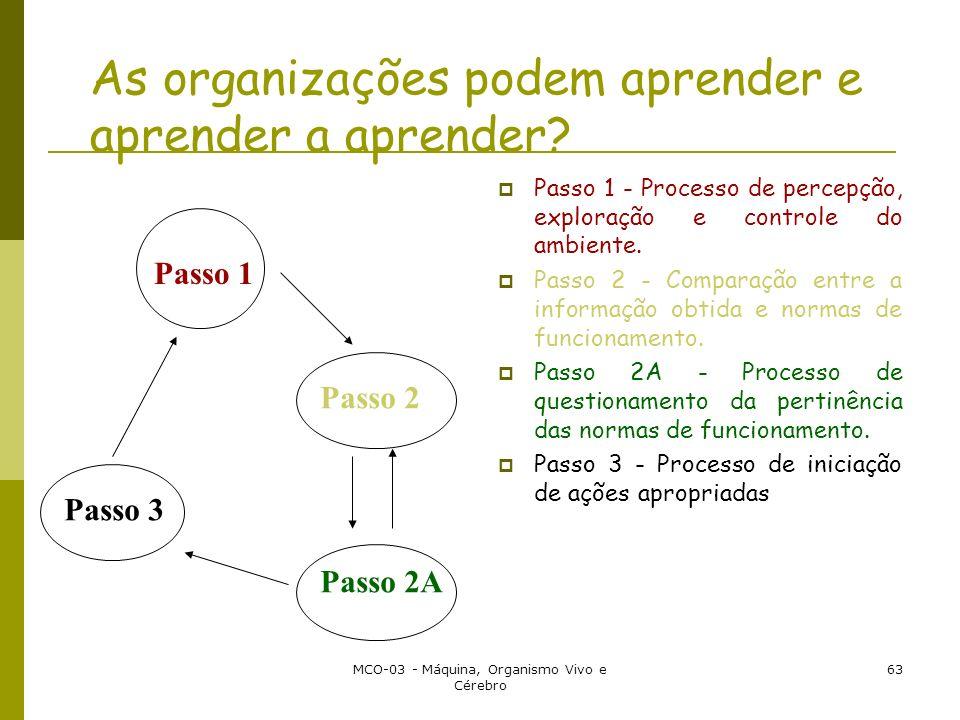MCO-03 - Máquina, Organismo Vivo e Cérebro 63 As organizações podem aprender e aprender a aprender? Passo 1 - Processo de percepção, exploração e cont