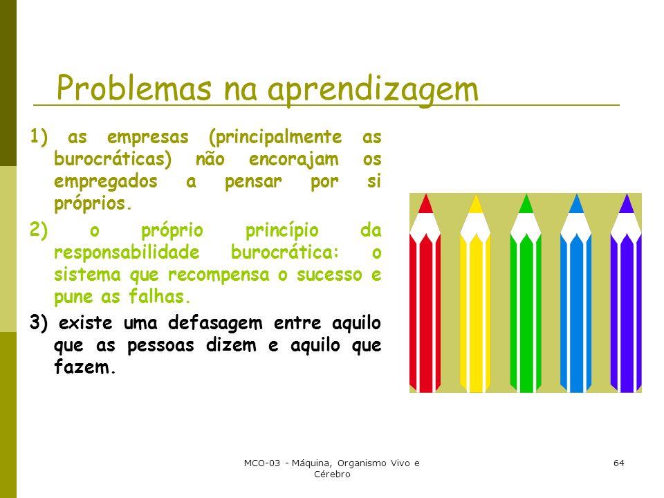 MCO-03 - Máquina, Organismo Vivo e Cérebro 64 Problemas na aprendizagem 1) as empresas (principalmente as burocráticas) não encorajam os empregados a