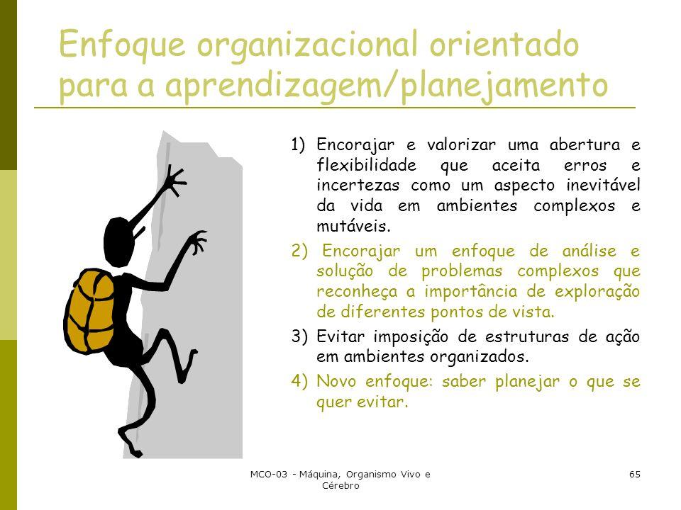MCO-03 - Máquina, Organismo Vivo e Cérebro 65 Enfoque organizacional orientado para a aprendizagem/planejamento 1) Encorajar e valorizar uma abertura