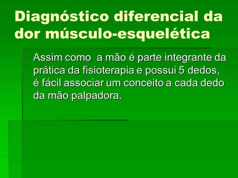 Diagnóstico diferencial da dor músculo-esquelética Assim como a mão é parte integrante da prática da fisioterapia e possui 5 dedos, é fácil associar u