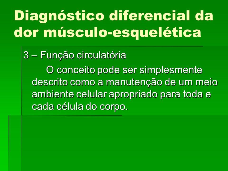 Diagnóstico diferencial da dor músculo-esquelética 3 – Função circulatória O conceito pode ser simplesmente descrito como a manutenção de um meio ambi