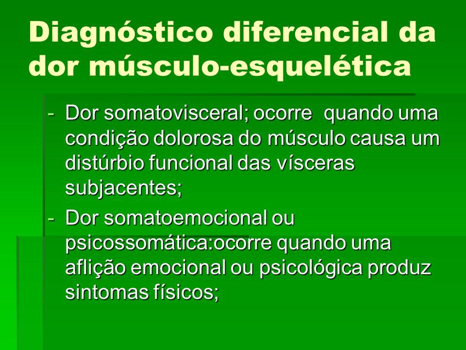 Diagnóstico diferencial da dor músculo-esquelética -Dor somatovisceral; ocorre quando uma condição dolorosa do músculo causa um distúrbio funcional da