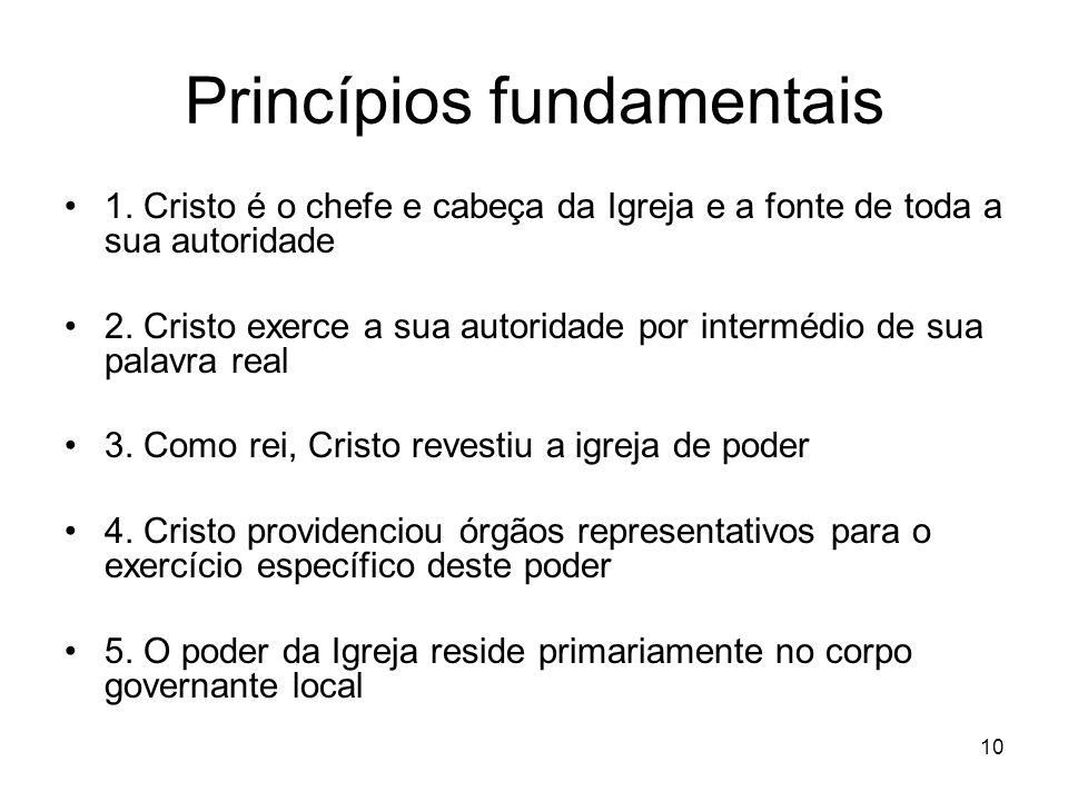 10 Princípios fundamentais 1. Cristo é o chefe e cabeça da Igreja e a fonte de toda a sua autoridade 2. Cristo exerce a sua autoridade por intermédio