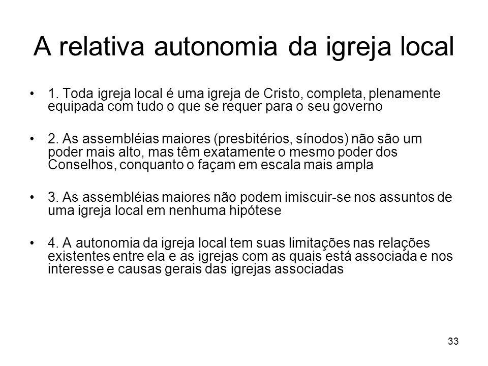 33 A relativa autonomia da igreja local 1.