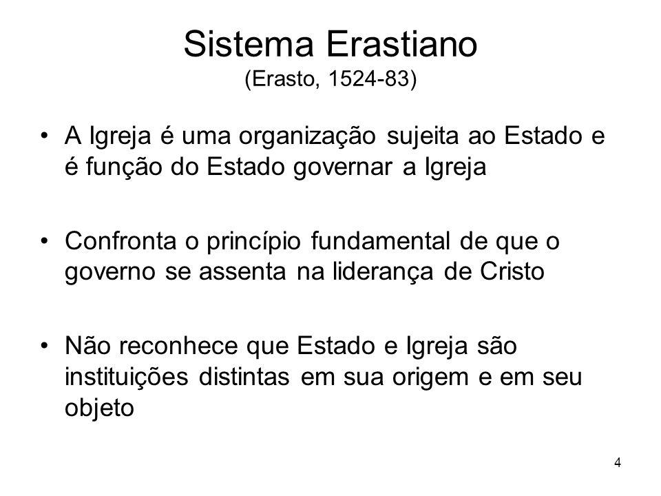 4 Sistema Erastiano (Erasto, 1524-83) A Igreja é uma organização sujeita ao Estado e é função do Estado governar a Igreja Confronta o princípio fundam