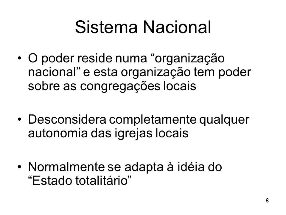 8 Sistema Nacional O poder reside numa organização nacional e esta organização tem poder sobre as congregações locais Desconsidera completamente qualq
