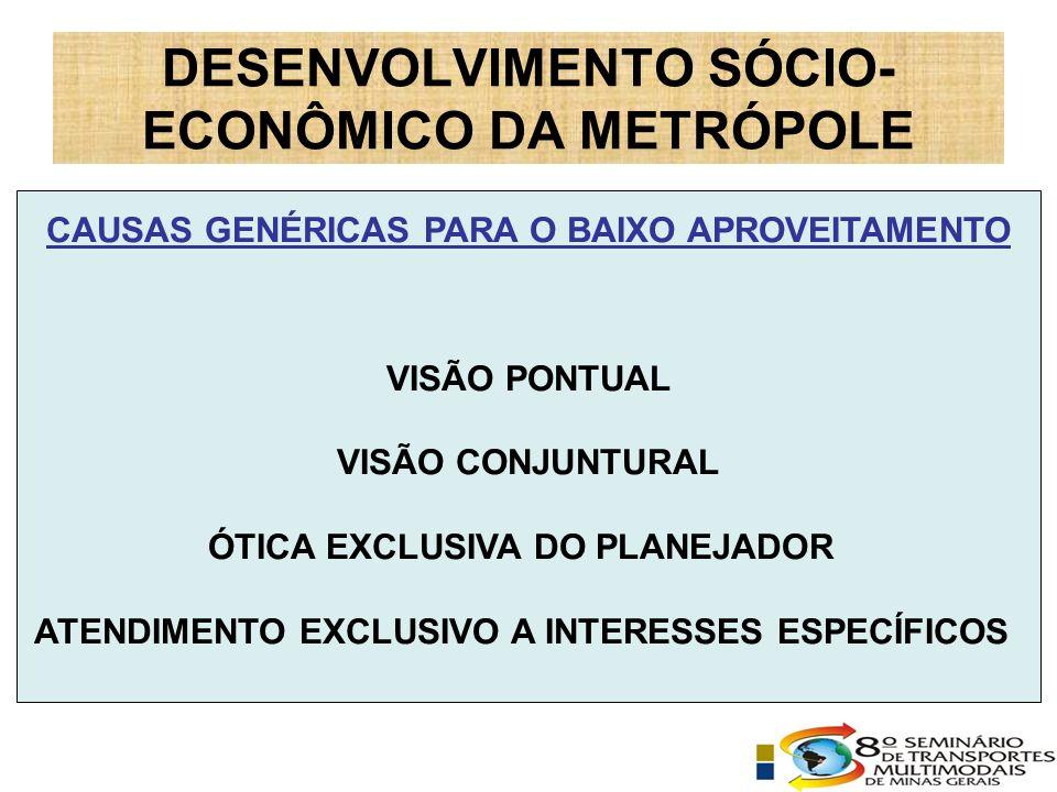 CAUSAS GENÉRICAS PARA O BAIXO APROVEITAMENTO VISÃO PONTUAL VISÃO CONJUNTURAL ÓTICA EXCLUSIVA DO PLANEJADOR ATENDIMENTO EXCLUSIVO A INTERESSES ESPECÍFICOS DESENVOLVIMENTO SÓCIO- ECONÔMICO DA METRÓPOLE