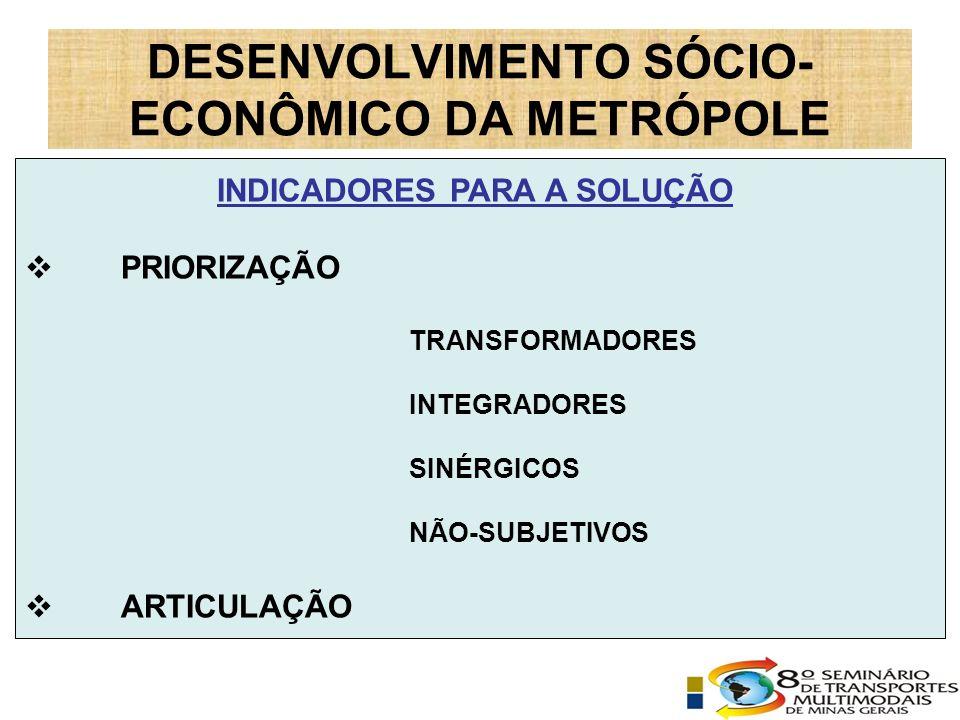 INDICADORES PARA A SOLUÇÃO PRIORIZAÇÃO TRANSFORMADORES INTEGRADORES SINÉRGICOS NÃO-SUBJETIVOS ARTICULAÇÃO DESENVOLVIMENTO SÓCIO- ECONÔMICO DA METRÓPOLE