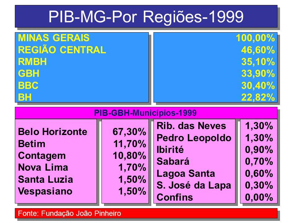 PIB-MG-Por Regiões-1999 MINAS GERAIS REGIÃO CENTRAL RMBH GBH BBC BH MINAS GERAIS REGIÃO CENTRAL RMBH GBH BBC BH 100,00% 46,60% 35,10% 33,90% 30,40% 22,82% 100,00% 46,60% 35,10% 33,90% 30,40% 22,82% PIB-GBH-Municípios-1999 Belo Horizonte Betim Contagem Nova Lima Santa Luzia Vespasiano Belo Horizonte Betim Contagem Nova Lima Santa Luzia Vespasiano Rib.