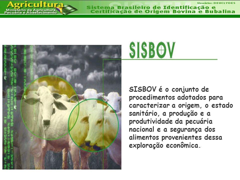 SISBOV é o conjunto de procedimentos adotados para caracterizar a origem, o estado sanitário, a produção e a produtividade da pecuária nacional e a se
