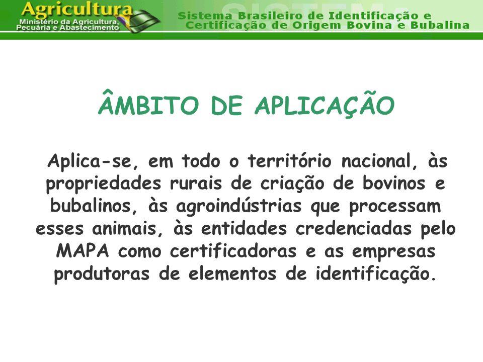 ÂMBITO DE APLICAÇÃO Aplica-se, em todo o território nacional, às propriedades rurais de criação de bovinos e bubalinos, às agroindústrias que processa